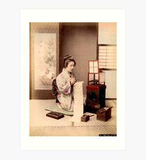 Geisha writing a letter Art Print