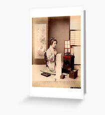 Geisha writing a letter Greeting Card