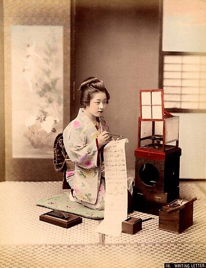 Geisha writing a letter by Fletchsan