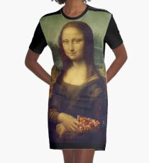 Mona Lisa with a Piece of Pizza Graphic T-Shirt Dress
