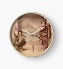 Two geisha girls dancing Clock