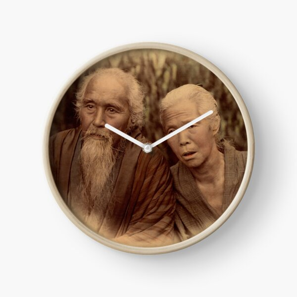 Elderly Japanese couple, 1890s Clock