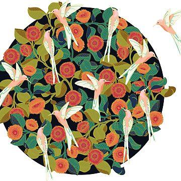 Pink Birds in Garden by likidddsign