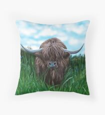 Scottish Highland Cow Throw Pillow