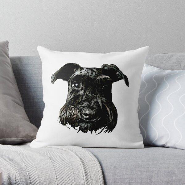 Black Schnauzer Gaze Throw Pillow
