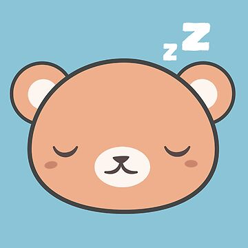 Sleepy Kawaii Cute Brown Bear by happinessinatee