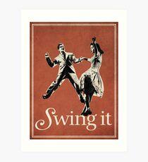 Lámina artística SWING IT, swing swing, lindy hop, salón de baile de la costa este de la costa oeste