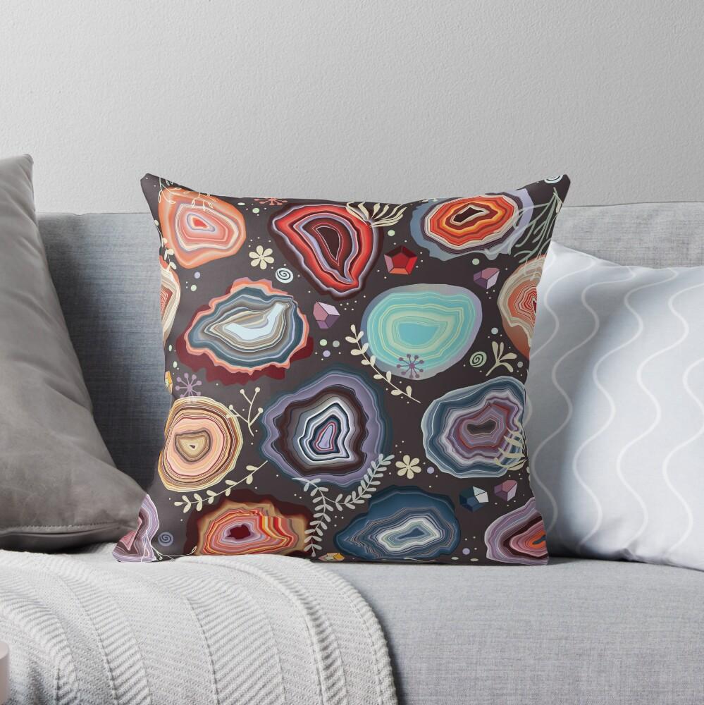 Colorful agates Throw Pillow