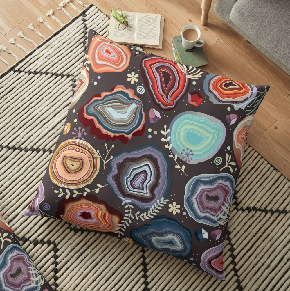 Colorful agates Floor Pillow