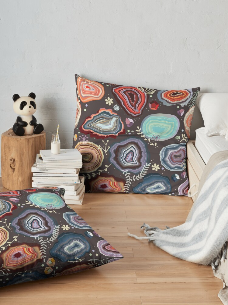 Alternate view of  Colorful agates Floor Pillow