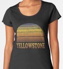 Weinlese-Yellowstone Nationalpark-Sonnenuntergang Premium Rundhals-Shirt