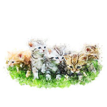 Cute Kittens colorful watercolor, spring summer collection, awesome mom gift by DarkMaskedCats