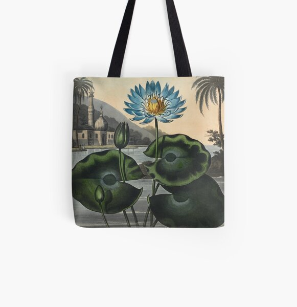 Botanical illustration: Blue Egyptian water lily by Robert Thornton – State Library Victoria All Over Print Tote Bag