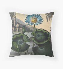 Botanical illustration: Blue Egyptian water lily by Robert Thornton – State Library Victoria Throw Pillow