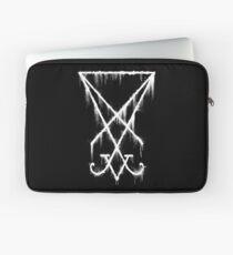 Lucifer Sigil - The Devil's Symbol White Grunge Laptop Sleeve