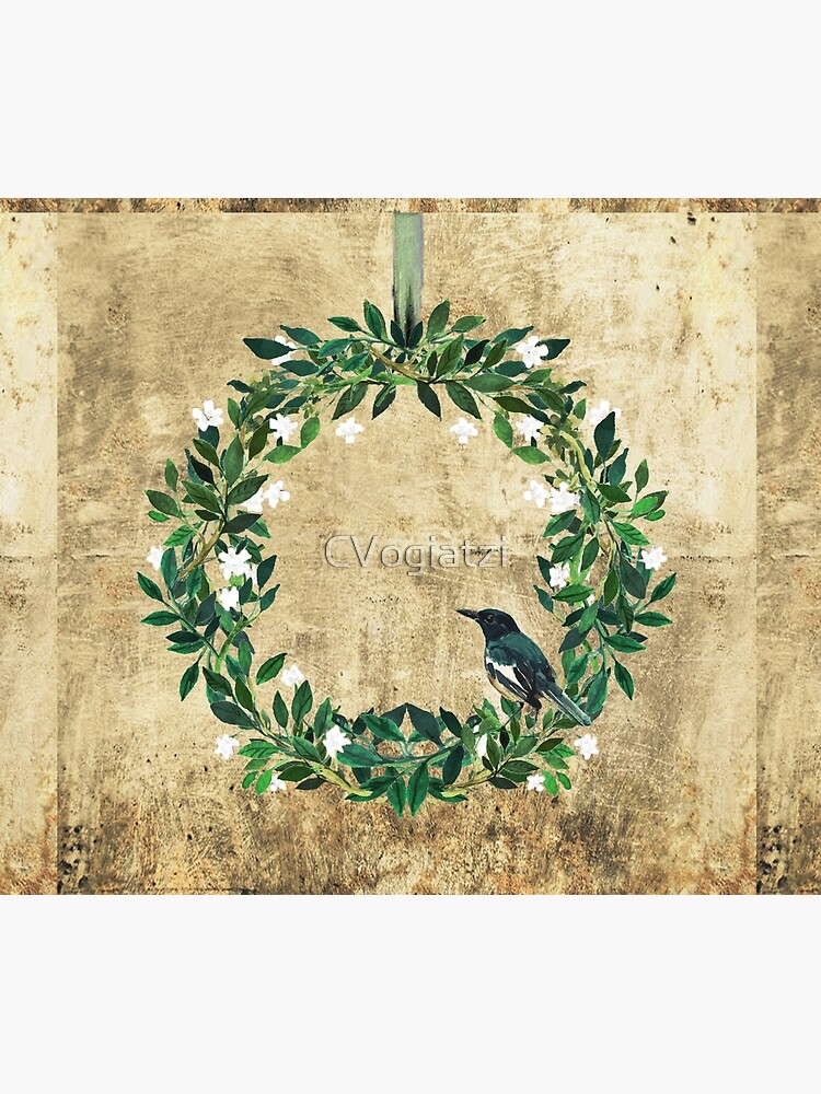 Wreath #White Flowers & Bird #Royal collection by CVogiatzi