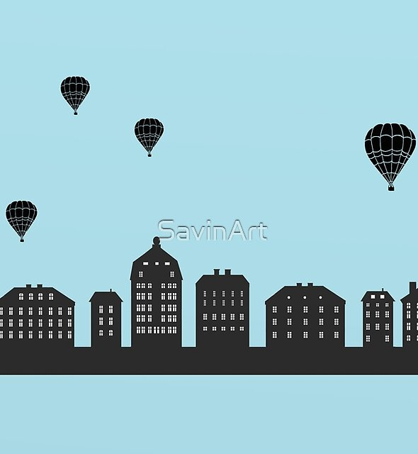 Stockholm skyline - Balloon Afternoon by SavinArt