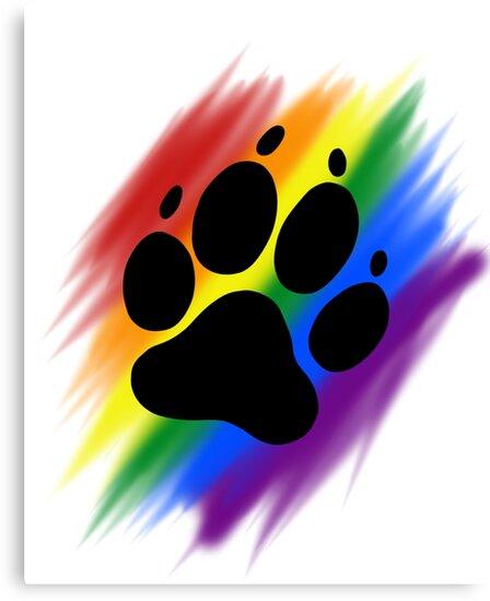 """Rainbow Dog Paw Print"" Canvas Prints by Adezu | Redbubble"