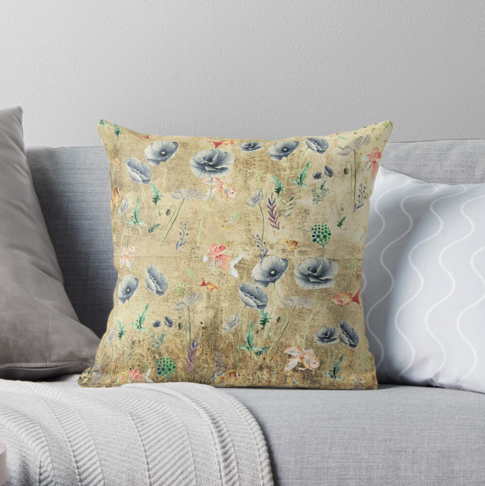 Fishies & Garden #Gold-plated Throw Pillow