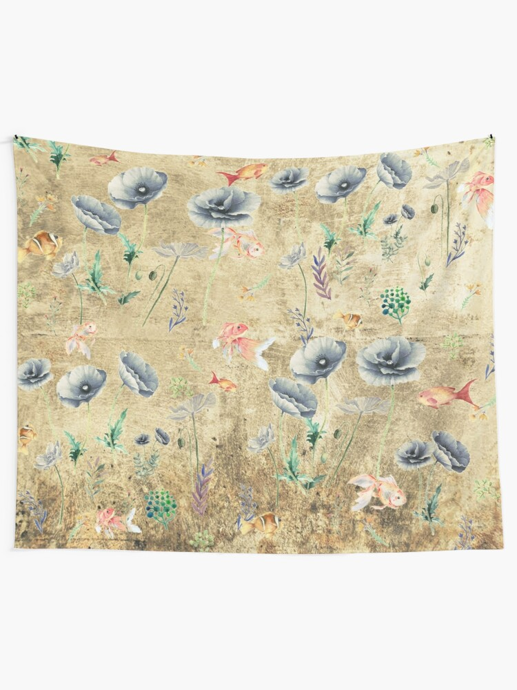 Alternate view of Fishies & Garden #Gold-plated Tapestry