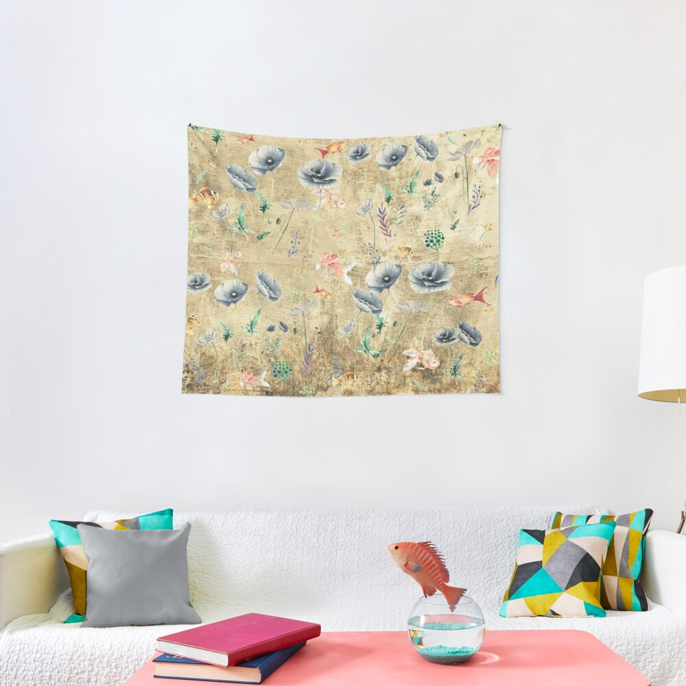 Fishies & Garden #Gold-plated Tapestry