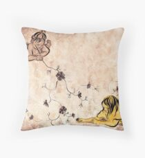 Children Drawing Flowers Painting Throw Pillow