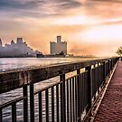 early morning freighter on the river by Barry W  King