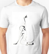 India Ink Dance Drawing Slim Fit T-Shirt
