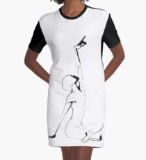 India Ink Dance Drawing Graphic T-Shirt Dress