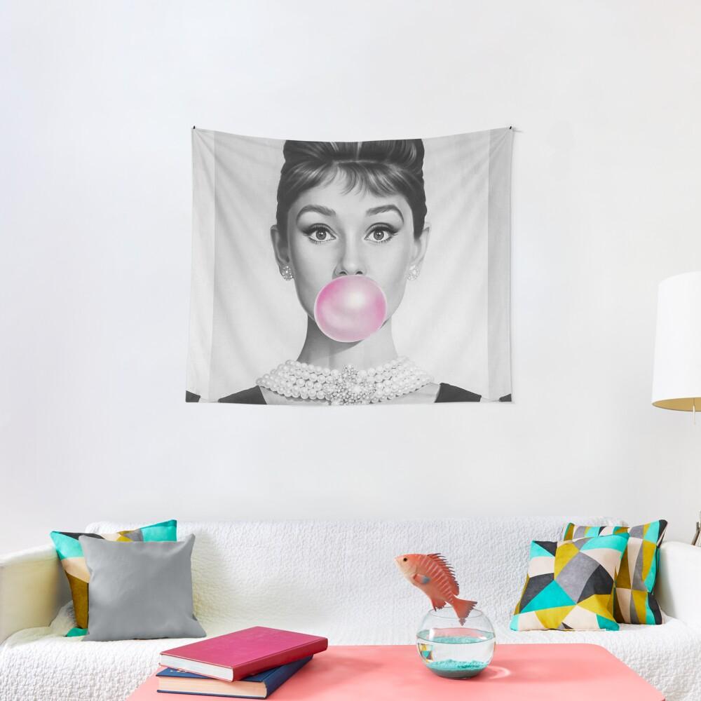 Bubblegum portrait Pink Tapestry