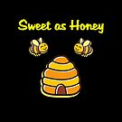 Cute Mother's Day Sweet as Honey Beehive Bees Dark Color by TinyStarAmerica