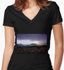 The Lovely Cajas At Dusk II - Cuenca Ecuador Women's Fitted V-Neck T-Shirt