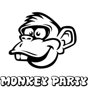 party monkey mens boys t-shirt look gift black white funny trending by mounir1239