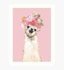 Lámina artística Llama con flores Corona en rosa
