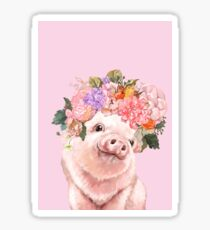 Baby Pig with Flowers Crown in Pink Sticker