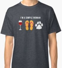 I Am A Simple Woman Wine Beach Sandals Dog Lover Classic T-Shirt
