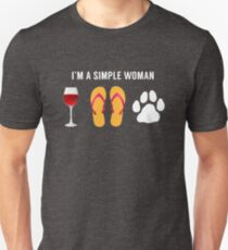 I Am A Simple Woman Wine Beach Sandals Dog Lover Unisex T-Shirt