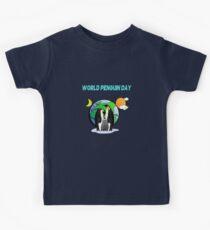 It's World Penguin Day Let's Chill awareness shirt Kids Tee