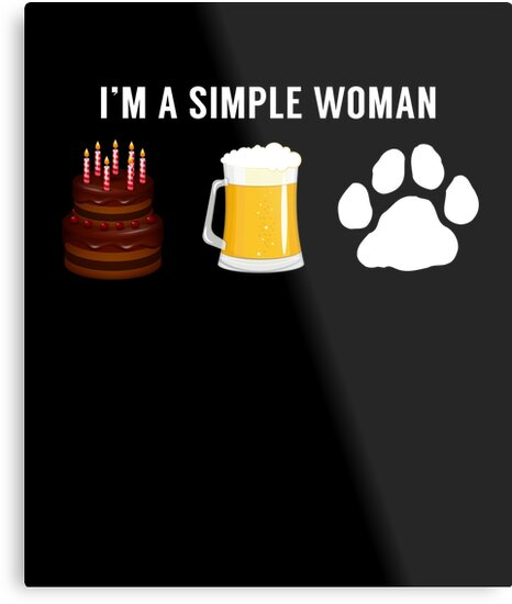 I Am A Simple Woman Cake Beer Dog Lover By JapaneseInkArt