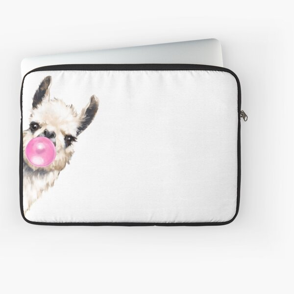 Sneaky Llama with Bubble Gum Laptop Sleeve