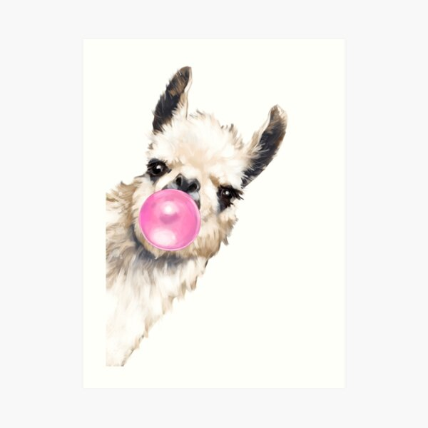 Sneaky Llama with Bubble Gum Art Print