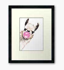 Lámina enmarcada Sneaky Llama con Bubble Gum