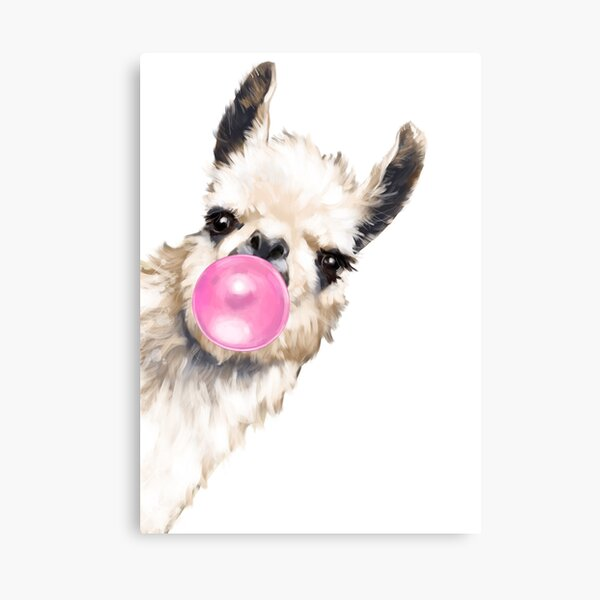 Sneaky Llama with Bubble Gum Canvas Print
