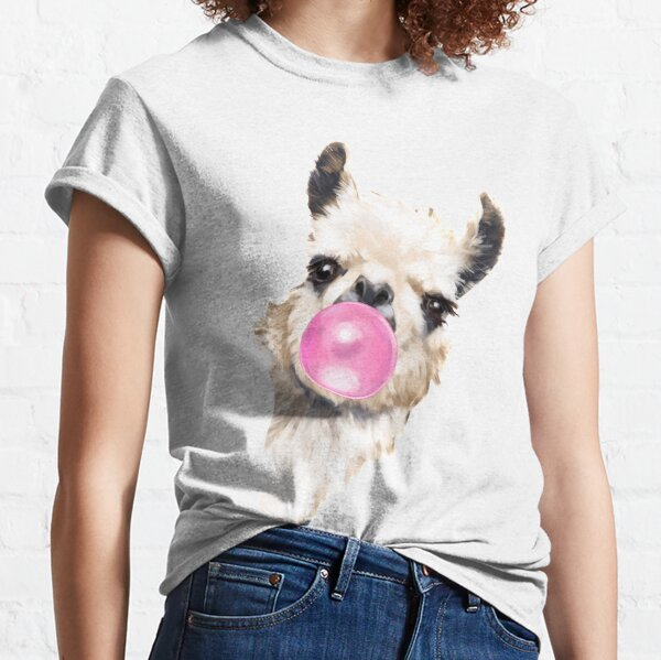 Sneaky Llama with Bubble Gum Classic T-Shirt