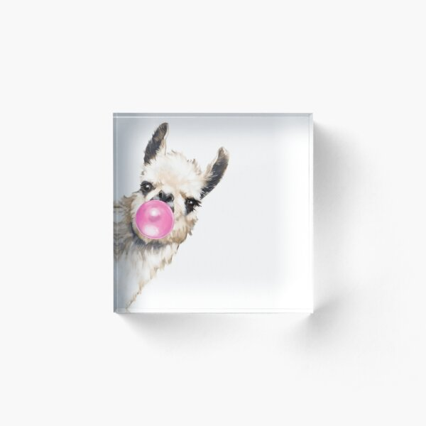 Sneaky Llama with Bubble Gum Acrylic Block