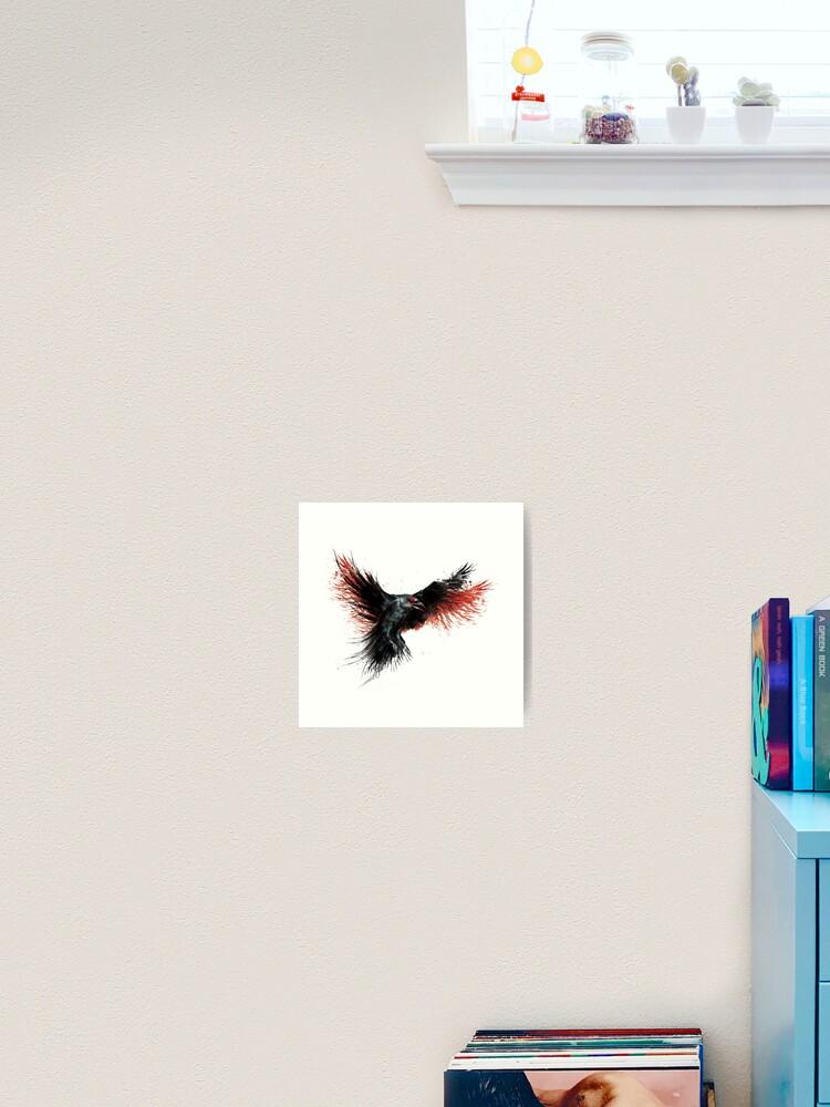 Crow Raven Edgar Allen Poe Nevermore Watercolor Painting Print Wall Decor Art