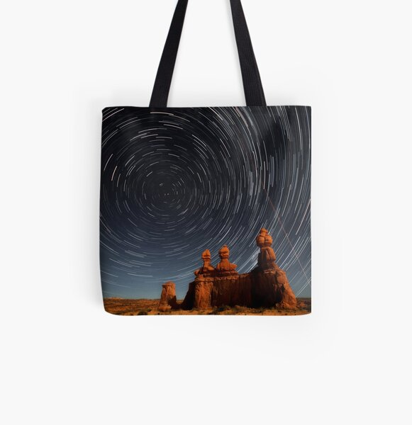 Star trails in Goblin valley All Over Print Tote Bag