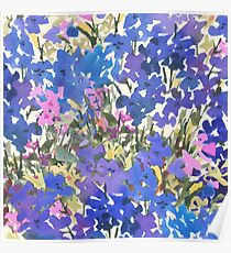 Blue Periwinkle Wildflowers Poster