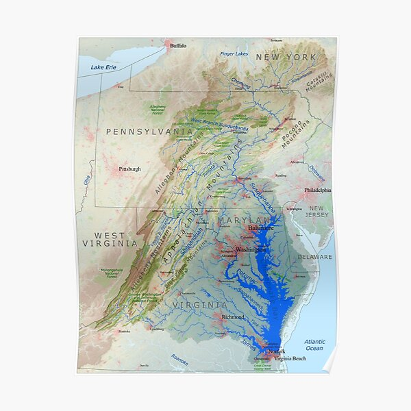 Chesapeake Bay Watershed Map - Labeled Poster