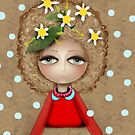 Daisies Blue Polka Dots Brown Love Doll - Ruth Fitta-Schulz by rupydetequila